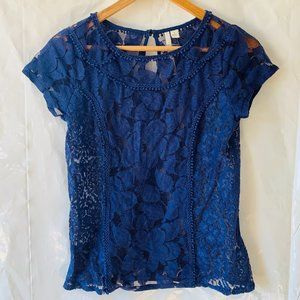 LC Royal Blue Allover Lace Cap Sleeve Blouse